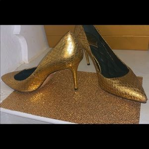 Gold leather Brian Atwood heels